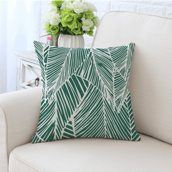 Cushion Throw Pillow - Leaf Pattern Velvet (FILLING INCLUDED) - The Jardine Store