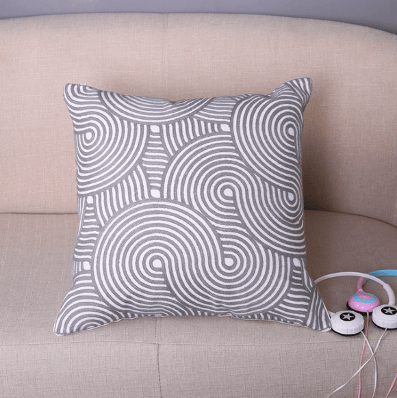 New grey design cotton fabric embroidery cushion pillows (FILLING INCLUDED) - The Jardine Store