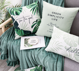 Trendy Custom Printed Tropical Plant Velvet Cushion Pillow (FILLING INCLUDED) - The Jardine Store