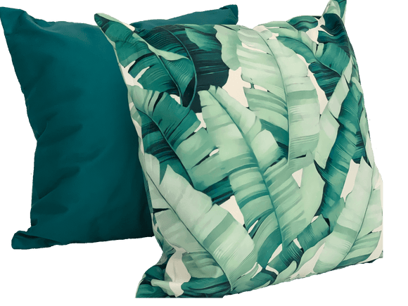 Tropical Leaf Cushion, Set of two cushions( Solid & Leaf Pattern Cushions) - The Jardine Store