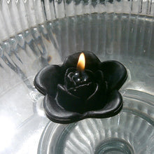 Load image into Gallery viewer, black colored rose shaped floating candle for wedding reception centerpieces