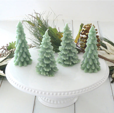Set of 2 Green Christmas Tree Candles
