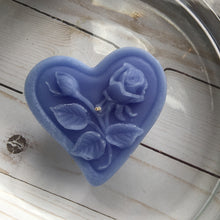 Load image into Gallery viewer, dusty blue floating heart candle with rose motif for wedding reception centerpieces