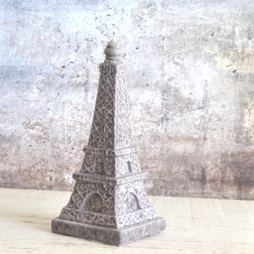 gray stone look eiffel tower shaped candle made from palm wax
