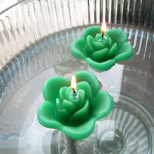 Load image into Gallery viewer, emerald green colored rose shaped floating candle for wedding reception centerpieces