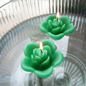 emerald green colored rose shaped floating candle for wedding reception centerpieces