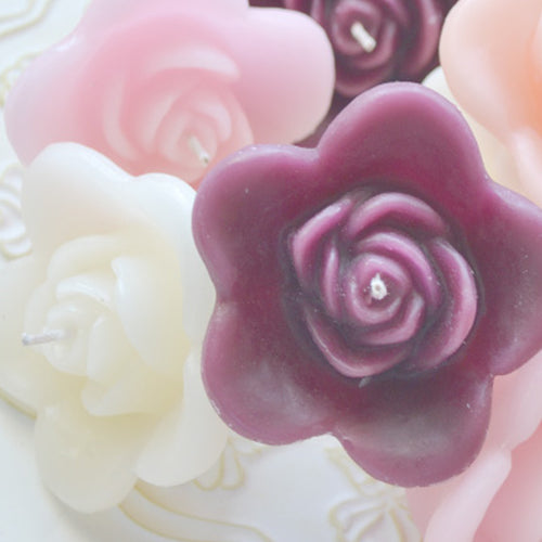 Pack of 10 ROSE FLOATING WEDDING CANDLES