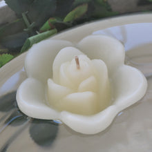 Load image into Gallery viewer, ivory cream colored rose shaped floating candle for wedding reception centerpieces