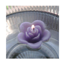 Load image into Gallery viewer, lavender light purple colored rose shaped floating candle for wedding reception centerpieces