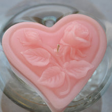 Load image into Gallery viewer, light pink blush floating heart candle with rose motif for wedding reception centerpieces