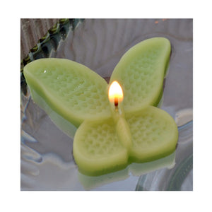 set of eight lime green butterfly shaped floating wedding candles for reception centerpieces