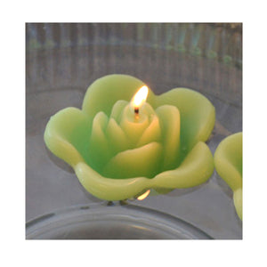 lime green colored rose shaped floating candle for wedding reception centerpieces