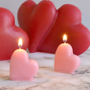 mini pink heart shaped candles for cupcake, birthday cakes or little gifts