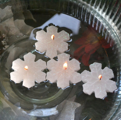 Set of 12  Mini Snowflake Floating Candles