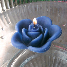 Load image into Gallery viewer, navy marine blue colored rose shaped floating candle for wedding reception centerpieces