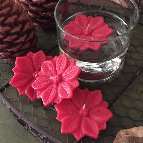 4 Pack Floating Poinsettia Candles