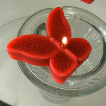Load image into Gallery viewer, set of eight red butterfly shaped floating wedding candles for reception centerpieces