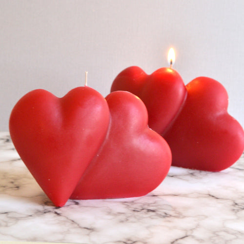 double heart candle two hearts beating one flame valentine candle