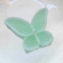 Load image into Gallery viewer, set of eight sea foam green butterfly shaped floating wedding candles for reception centerpieces