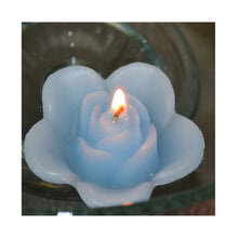 Load image into Gallery viewer, sky blue, baby blue colored rose shaped floating candle for wedding reception centerpieces