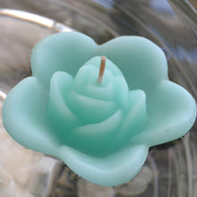 Load image into Gallery viewer, spa blue colored rose shaped floating candle for wedding reception centerpieces
