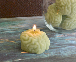 Zombie Brain Candles in a Jar.
