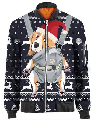 BEAGLE CHRISTMAS PATTERN NAVY 3D Tee