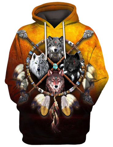 FOUR WOLVES 3D TEE