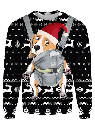 BEAGLE CHRISTMAS PATTERN BLACK 3D Tee
