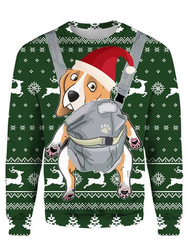 BEAGLE CHRISTMAS PATTERN GREEN 3D Tee
