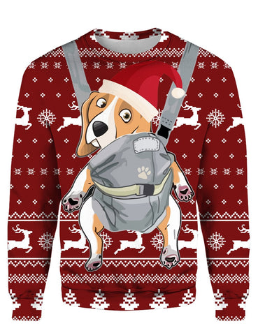 BEAGLE CHRISTMAS PATTERN RED 3D Tee