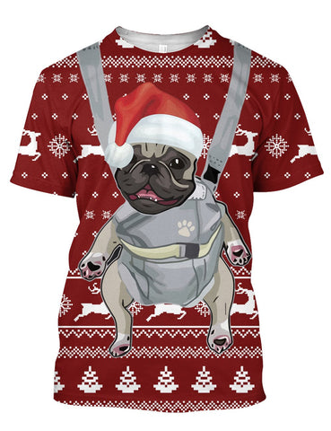 Image of BULL CHRISTMAS PATTERN RED 3D Tee