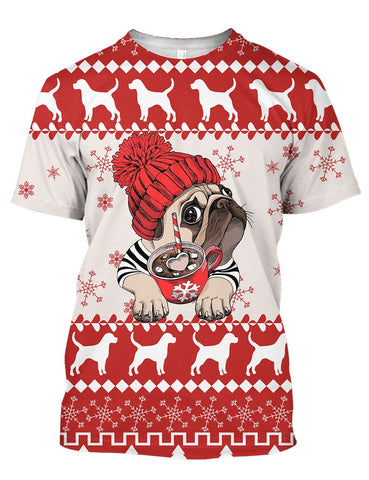 Image of THE PUG PATTERN CHRISTMAS 3D Tee