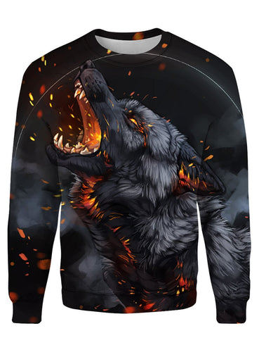Image of Black Fire Wolf 3D Tee