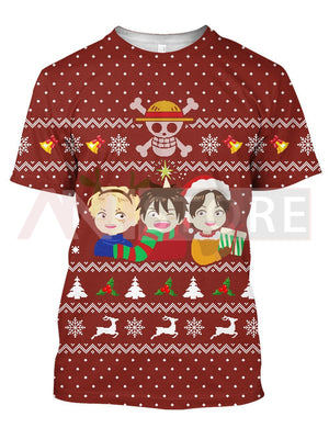 Christmas Ugly Three Brothers Pirate OP 3D Tee