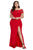 Red Off Shoulder Plus Size Prom Dress - YouSwanky