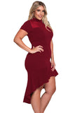 Burgundy Mesh Insert Ruffled Hi-low Hem Curvy Dress - YouSwanky