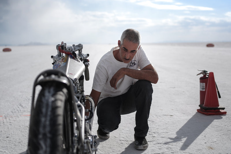 Dan at Bonneville with Vintage gas Triumph
