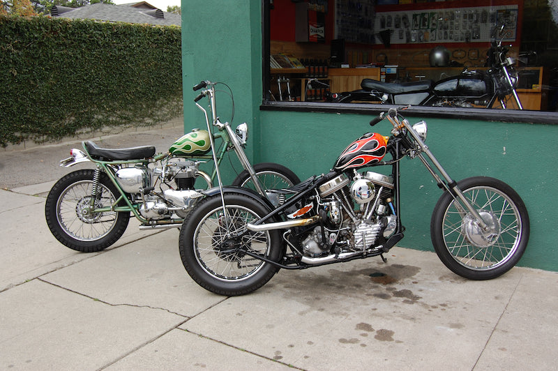 Dice Magazine panhead and Triumph 650