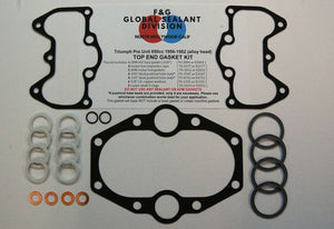 Triumph Pre Unit 650 alloy head top end gasket kit 1956-1962