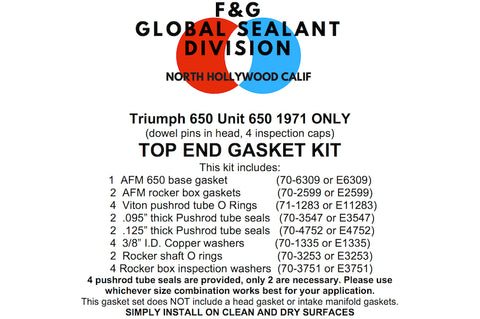 Triumph Unit 650 top end gasket kit 1971 ONLY