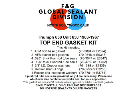 Triumph Unit 650 top end gasket kit 1963-1967