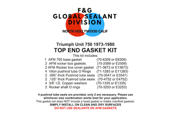 Triumph Unit 750 top end gasket kit 1973-1980