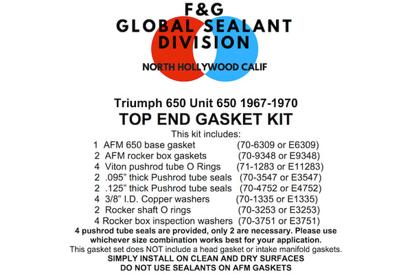 Triumph Unit 650 top end gasket kit 1967-1970