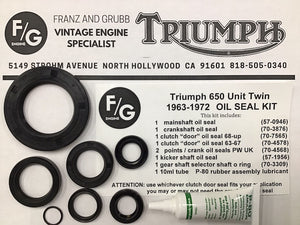 Triumph 500 650 750 twins engine oil seal kit