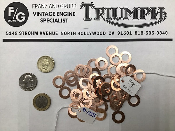 Copper washers for British motorcycles