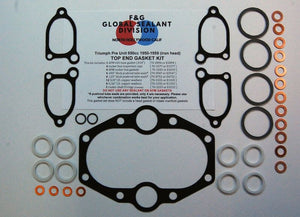 Triumph Pre Unit 650 iron head top end gasket kit 1950-1959