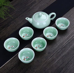 Ceramic tea set with KOI fish design 🍵 ✨ - Archihomesb , homeproducts , kitchenware , tableware