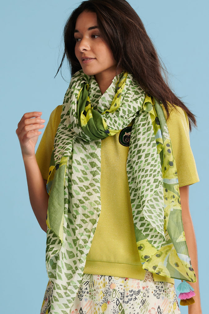 SHAWL - Cheetah Leaves Lemon