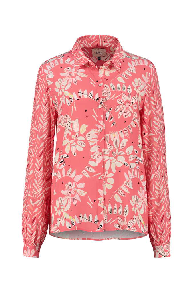 BLOUSE - Bouncing Leaves Coral